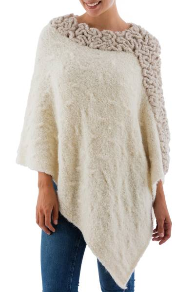 Alpaca blend poncho, 'Diagonal Paths in Cream' - Hand Knitted Baby Alpaca Blend Beige and Ivory Poncho