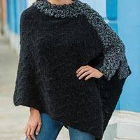 Alpaca blend poncho, 'Diagonal Paths in Black' - Black Baby Alpaca Blend Hand Knitted Poncho with Grey Trim