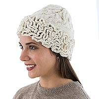 100% baby alpaca hat, 'Labyrinthine Cream' - Hand Knitted and Crocheted Ivory 100% Baby Alpaca Hat