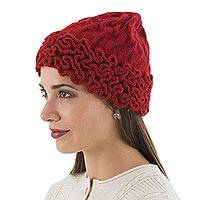 100% baby alpaca hat, 'Labyrinthine Red' - Knitted and Crocheted 100% Baby Alpaca Hat in Red