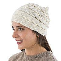 100% baby alpaca hat, 'Braided Ivory Warmth' - Peruvian Ivory Cable Knit Hat in 100% Baby Alpaca