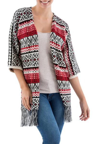100% alpaca cardigan, 'Andean Boho Chic' - Red Black and Ivory Long Cardigan in Soft Peruvian Alpaca
