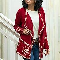 100% alpaca cardigan, 'Crimson Twilight Stars' - Red Alpaca Wool Cardigan with White Glyph Stars from Peru