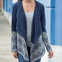 100% alpaca cardigan, 'Diamond Constellations'