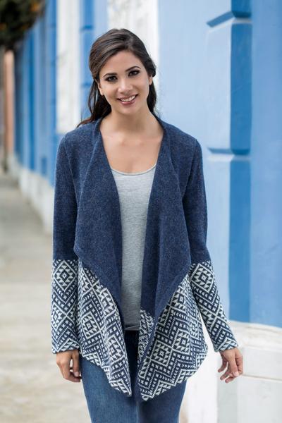 100% alpaca cardigan, 'Diamond Constellations' - Blue Alpaca Cardigan with Diamond Glyphs Knitted in Peru