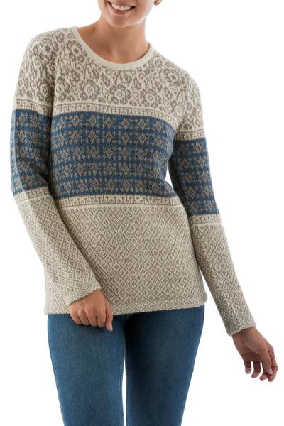 100% alpaca sweater, 'Flower Diamonds' - Patterned Blue Beige Alpaca Sweater Knit in Peru