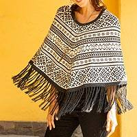 100% alpaca poncho, 'Inca Fantasy' - Modern Peruvian Poncho in Black Grey Ivory Alpaca Wool