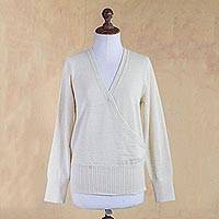100% alpaca sweater, 'Ivory Surplice Style' - Ivory Color 100% Alpaca Surplice Sweater from Peru