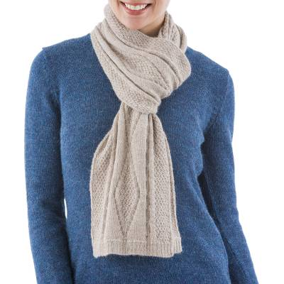 100% alpaca scarf, 'Tan Coconut' - Artisan Crafted 100% Alpaca Knitted Scarf in Tan