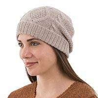 100% alpaca hat, 'Tan Coconut' - Tan Knitted Unisex Watch Cap in Tan 100% Alpaca