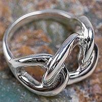 Sterling silver band ring, 'Shimmering Links' - Hand Crafted Sterling Silver Band Ring from the Andes
