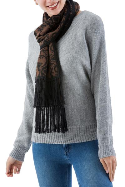 Reversible alpaca blend scarf, 'Walnut Espresso' - Brown Floral Jacquard Reversible Alpaca Blend Scarf