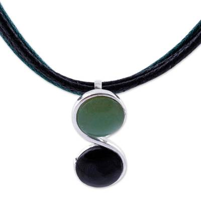 Agate and obsidian pendant necklace, 'Libra Balance' - Artisan Crafted Agate and Obsidian Pendant Necklace