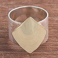 Gold accented sterling silver band ring, 'Golden Diamond' - Hand Crafted Silver and Gold Accent Band Ring from Peru