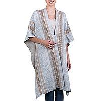 Alpaca blend ruana cape, 'Andean Wheat' - Grey and Brown Alpaca Blend Andean Knitted Ruana Cloak