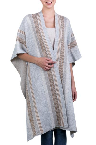 Grey and Brown Alpaca Blend Andean Knitted Ruana Cloak