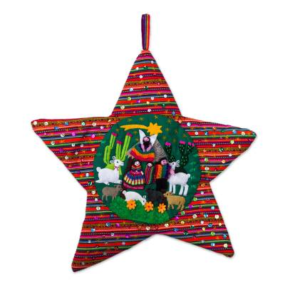 Handcrafted Andean Christmas Star Applique Wall Hanging