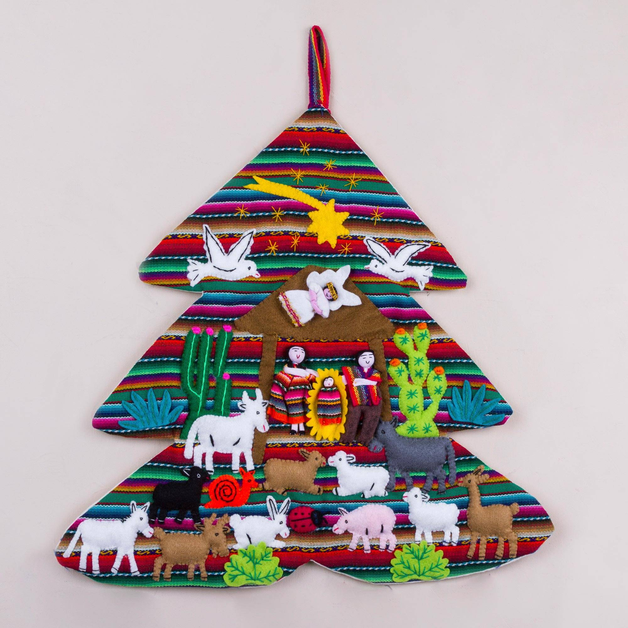 Handcrafted Andean Christmas Tree Applique Wall Hanging Andean Christmas Tree