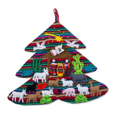 Handcrafted Andean Christmas Tree Applique Wall Hanging
