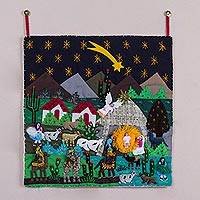 Applique wall hanging, 'Christmas Star Nativity' - Andean Patchwork Christmas Star Wall Hanging