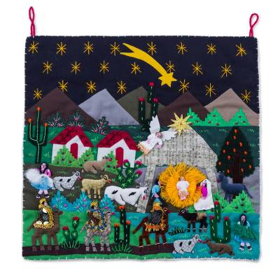 Andean Patchwork Christmas Star Wall Hanging