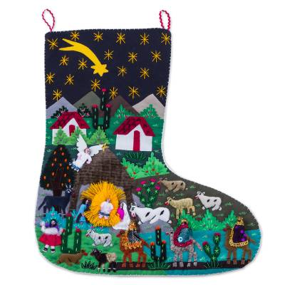 Handcrafted Andean Applique Christmas Stocking
