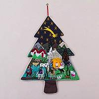 Applique wall hanging, 'Andean Christmas Pine' - Handcrafted Andean Christmas Pine Tree Applique Wall Hanging