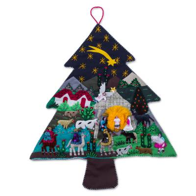 Handcrafted Andean Christmas Pine Tree Applique Wall Hanging