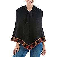 100% alpaca hooded poncho, 'Roses in the Night' - Knitted Black Hooded Poncho in 100 Percent Alpaca