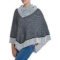 100% alpaca poncho, 'Honeycomb Matrix' - Black and White Patterned 100% Alpaca Poncho with Cowl Neck