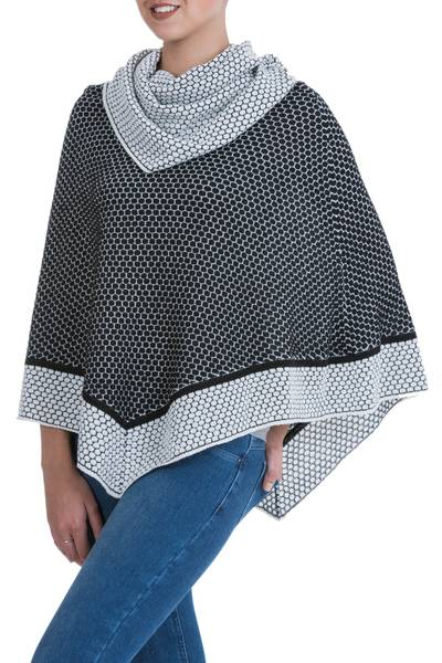 Black and White Patterned 100% Alpaca Poncho with Cowl Neck