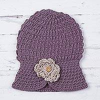 100% alpaca hat, 'Purple Floral Cloche' - Purple Floral Cloche Hat Hand Knit in 100% Alpaca