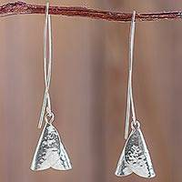 Sterling silver dangle earrings, 'Campanitas' - Hand Crafted Sterling Silver Dangle Earrings from Peru