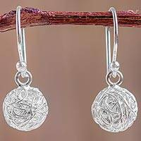 Sterling silver dangle earrings, 'Spherical Modern' - Artisan Crafted Sterling Silver Dangle Earrings from Peru