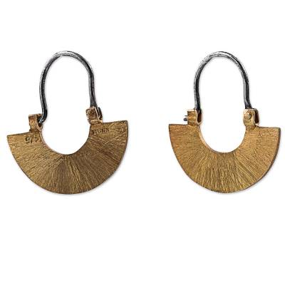 Artisan Crafted Rustic Gold Plated Sterling Silver Earrings
