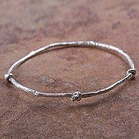 Sterling silver bangle bracelet, 'Thrice Knotted' - Peruvian Modern Design Sterling Silver Bangle Bracelet