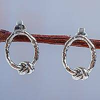 Sterling silver drop earrings, 'In a Knot' - 925 Sterling Silver Artisan Crafted Earrings from Peru