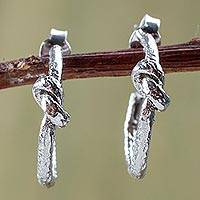 Sterling silver half-hoop earrings, 'Knotted' - Sterling Silver Knot Design Half Hoop Earrings from Peru