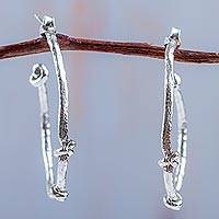 Sterling silver half hoop earrings, 'Thrice Knotted' - Half Hoop Earrings Artisan Crafted Sterling Silver Jewelry