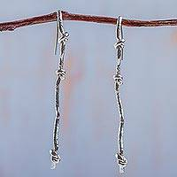Sterling silver drop earrings, 'Thrice Knotted' - 925 Sterling Silver Drop Earrings Artisan Crafted Jewelry
