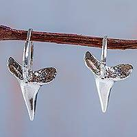 Sterling silver drop earrings, 'Shark' - 925 Sterling Silver Shark Tooth Earrings Fair Trade Jewelry