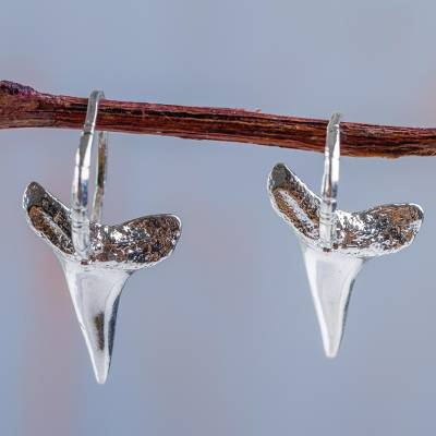 Sterling Silver Drop Earrings Shark 925 Tooth Fair