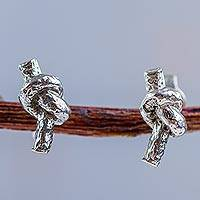 Sterling silver button earrings, 'In a Knot' - Knot Design Button Earrings Crafted in 925 Sterling Silver