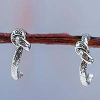 Sterling silver half hoop earrings, 'In a Knot' - 925 Sterling Silver Knot Design Half Hoop Earrings from Peru