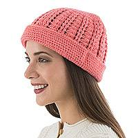 100% alpaca hat, 'Chic in Pink' - Andean Pink Hand Knitted 100% Alpaca Women's Hat