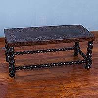 Wood and leather coffee table, 'Birds and Grapes' - Hand Carved Rectangular Wood Coffee Table with Bird Motif