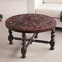 Wood and leather accent table, 'Colonial Inspiration' - Artisan Crafted Wood and Leather Table with Bird Motif