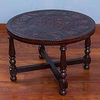 Wood and leather accent table, 'Traditional Incan' - Hand Carved Wood and Leather Round Accent Table from Peru