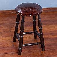 Wood and leather stool, 'Incan Geometric' - Andean Artisan Crafted Hand-Tooled Leather and Wood Stool