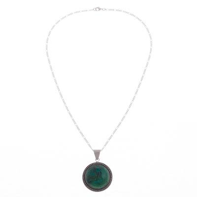 Andean Chrysocolla Sterling Silver Pendant Necklace